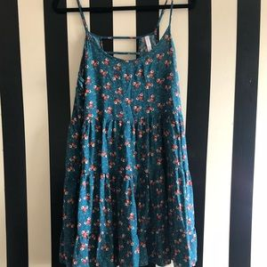 Blue Floral Sleeveless Babydoll Dress